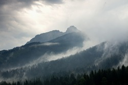 stormy weather in mountains or Giewont Peak, Tatra Mountains, Poland