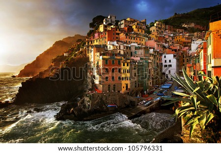 Stormy weather in Riomaggiore Village, Cinque Terre, Italy