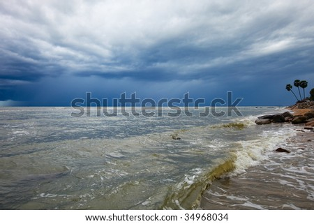 Stormy weather over ocean, Thailand in rainy season.