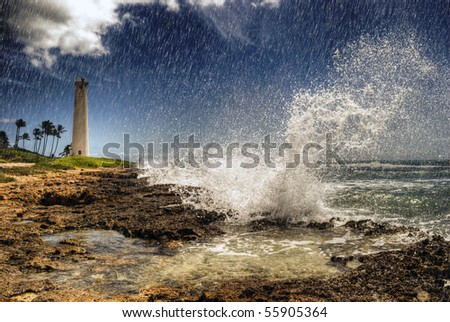 Stormy Weather Tropical Coast Hawaii. Wave, Rain, Lighthouse. - stock photo