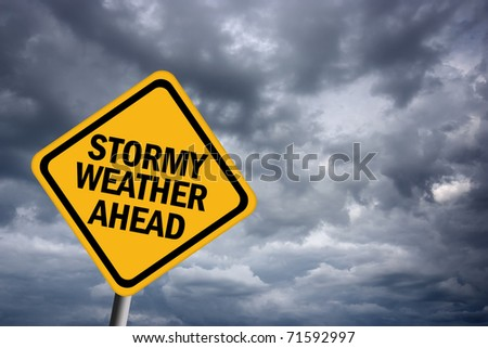 Stormy weather warning sign - stock photo