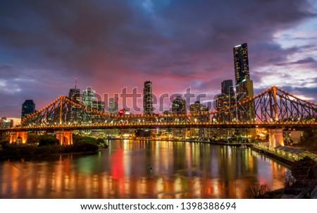 Story Bridge at dusk in Brisbane #1398388694