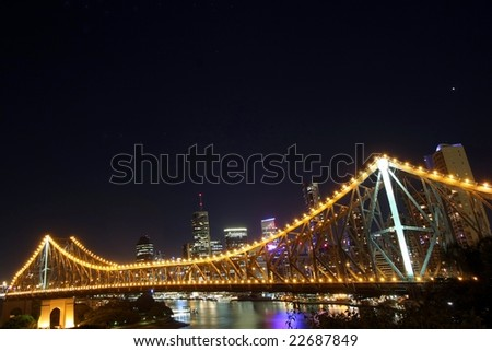Story bridge at night in Brisbane   Australia