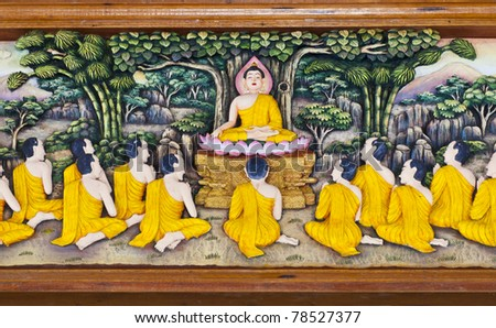 Story of Buddha in sculpture on teak