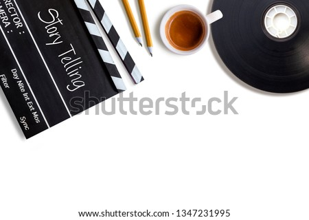 Story telling text title on movie clapper board  and coffee cup #1347231995