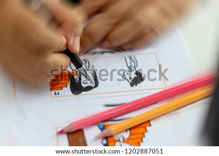 Storyboard drawing with pencil creative sketch cartoon. Storyboarding is process image displayed in sequence for purpose of pre-visualizing motion picture, interactive media. Concept sketching ideas. #1202887051