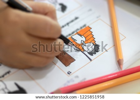 Storyboard drawing with pencil creative sketch cartoon. Storyboarding is process image displayed in sequence for purpose of pre-visualizing motion picture, interactive media. Concept sketching ideas. #1225851958