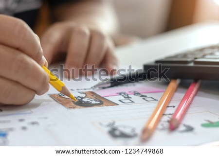 Storyboard drawing with pencil creative sketch cartoon. Storyboarding is process image displayed in sequence for purpose of pre-visualizing motion picture, interactive media. Concept sketching ideas. #1234749868