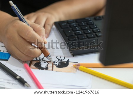Storyboard drawing with pencil creative sketch cartoon. Storyboarding is process image displayed in sequence for purpose of pre-visualizing motion picture, interactive media. Concept sketching ideas. #1241967616