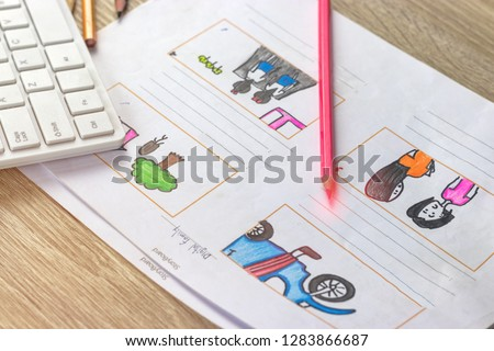Storyboard drawing with pencil creative sketch cartoon. Storyboarding is process image displayed in sequence for purpose of pre-visualizing motion picture, interactive media. Concept sketching ideas. #1283866687