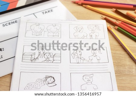Storyboard drawing with pencil creative sketch cartoon. Storyboarding is process image displayed in sequence for purpose of pre-visualizing motion picture, interactive media. Concept sketching ideas. #1356416957