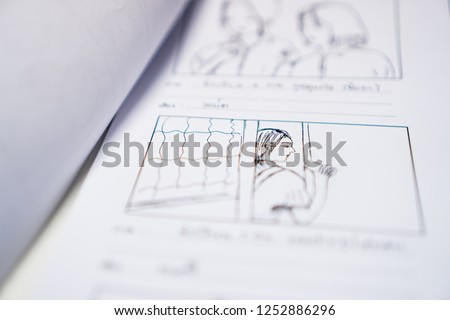 Storyboard or storytelling drawing creative for movie process pre-production media films script for video editors