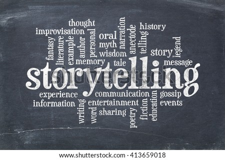 storytelling word cloud on an old slate blackboard with scratches and white chalk smudges
