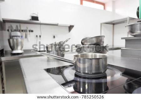 Stove counter in a modern restaurant kitchen