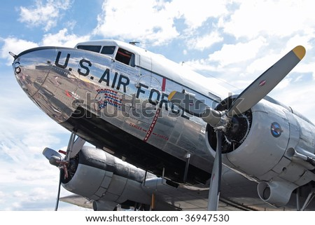 STOW, OHIO - JUNE 12: A C-47 Skytrain US Air Force passemger plane. Looking over the left wing at thr cockpit area. Taken at the Kent State University Airport Airshow on June 12, 2009 in Stow, Ohio.