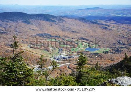Stowe Golf Course and Resorts Aerial view, from the top of Mount Mansfield, Vermont, USA