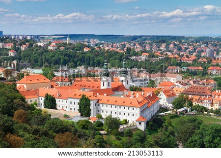 Strahov monastery from above at sunny day, Prague, Czech Republic