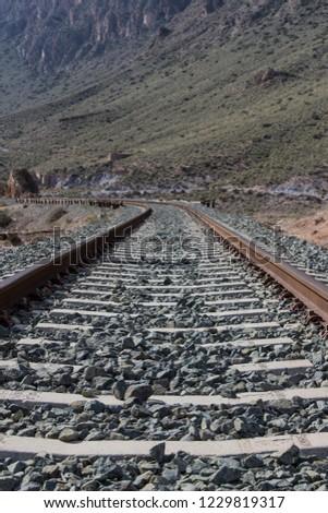 straight and curve of railroad, railroad tracks, railroad #1229819317