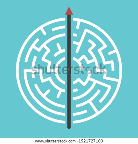 Straight arrow going right through maze on turquoise blue. Simple straightforward solution, creativity, strength, obstinacy, decision and courage concept. Flat design. Raster copy Сток-фото ©