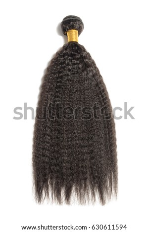 Straight black afro coarse human hair extensions bundle