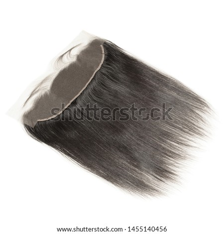 straight black human hair weaves extensions lace closure frontal Stockfoto ©