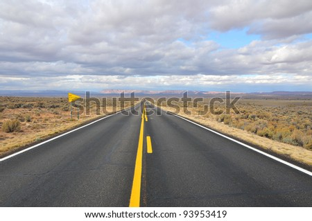 Straight clear highway near the north rim of the grand canyon in arizona