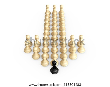 Straight direction arrow from chess pieces and black pawn as the leadership of others, isolated on white background.