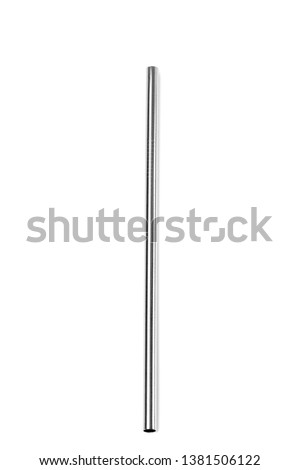 Straight Ecological stainless steel straw on a white background. Foto stock ©