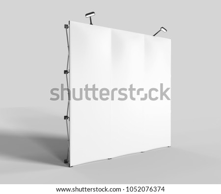 Straight Exhibition Tension Fabric Display Banner Stand Backdrop for trade show advertising stand with LED OR Halogen Light. 3d render illustration.