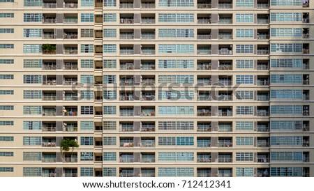 straight facades of condominium ...