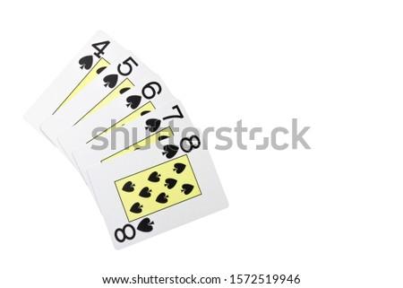 Straight flush card poker hand isolated on white / regular Straight flush #1572519946