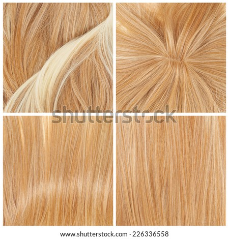 Straight hair fragment as a texture background composition, set of four images
