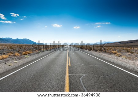 straight highway in sierra nevada, usa