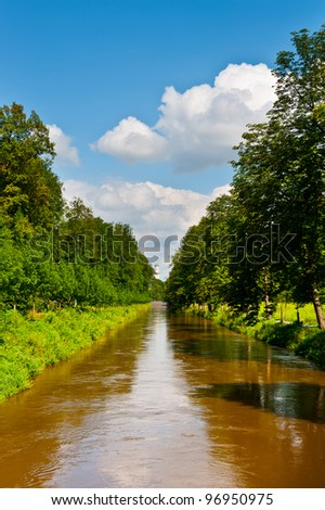 Straight Irrigation Canal in Southern Bavaria