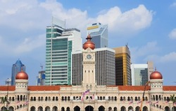 Straight On View Of The Sultan Abdul Samad Building On Merdeka Square With A Cityscape Of Kuala Lumpur, Malaysia