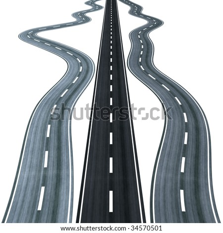 Straight road among curly ones, symbolizing the right way to choose