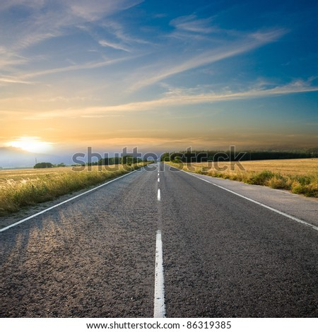straight road and colorful sunset #86319385