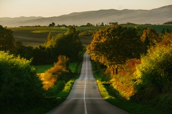 Straight road in a rural area crossing the country side during the sunset in a roadtrip heading to the mountains
