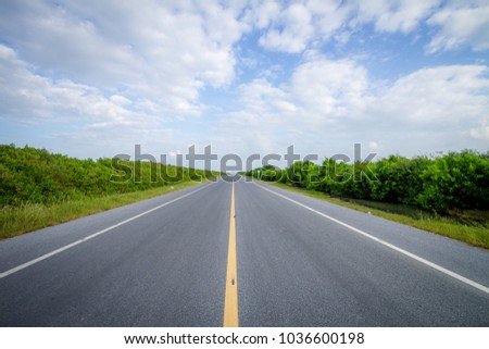 Straight road in nature. road over blue sky background. #1036600198