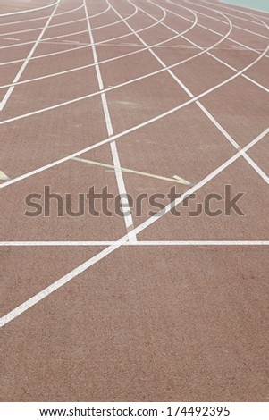 Straight track, detail of an outdoor jogging track, outdoor sports, aerobic