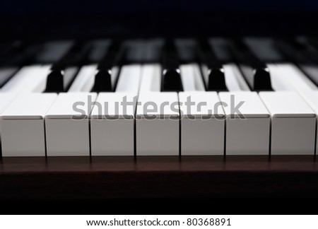 Straight view of an octave of piano keys