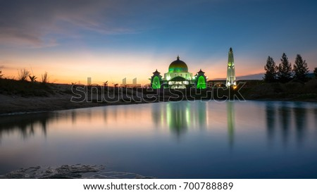 Strait Mosque of Malacca with reflection, Malacca Historical City, Malaysia. #700788889
