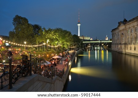Strand Bar in Berlin at the river Spree beside the Bodemuseum at night.