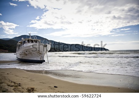 stranded boat after a storm