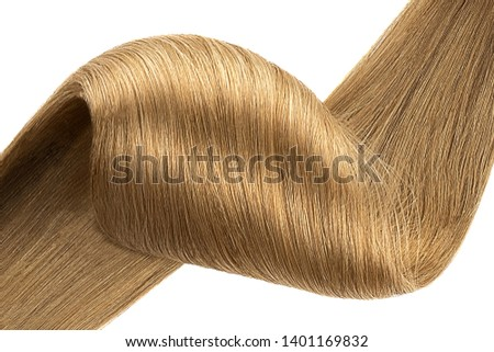 Stranded brown hair as background, isolated on white
