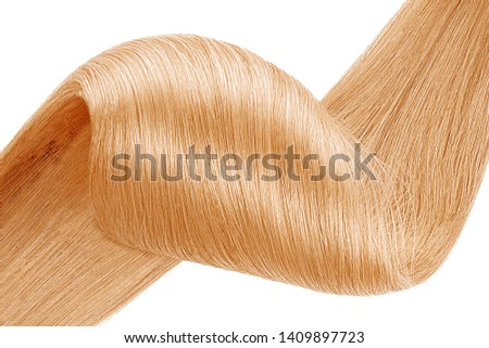 Stranded golden blond hair as background, isolated on white