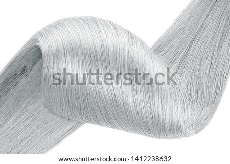 Stranded gray hair as background, isolated on white