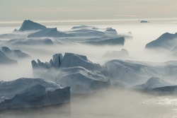 Stranded icebergs in the fog at the mouth of the Icefjord near Ilulissat, Greenland