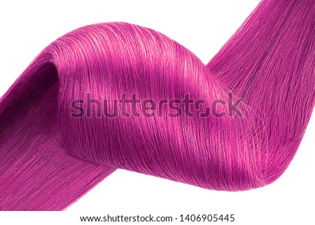 Stranded pink hair as background, isolated on white