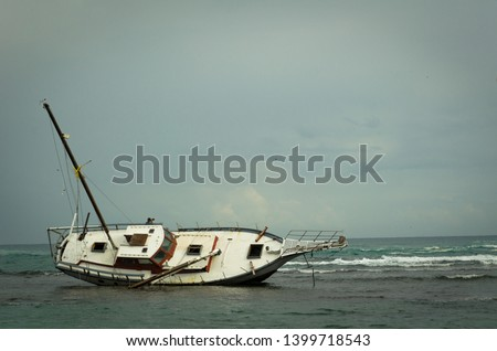 Stranded ship on the Carribian cost of Costa Rica #1399718543